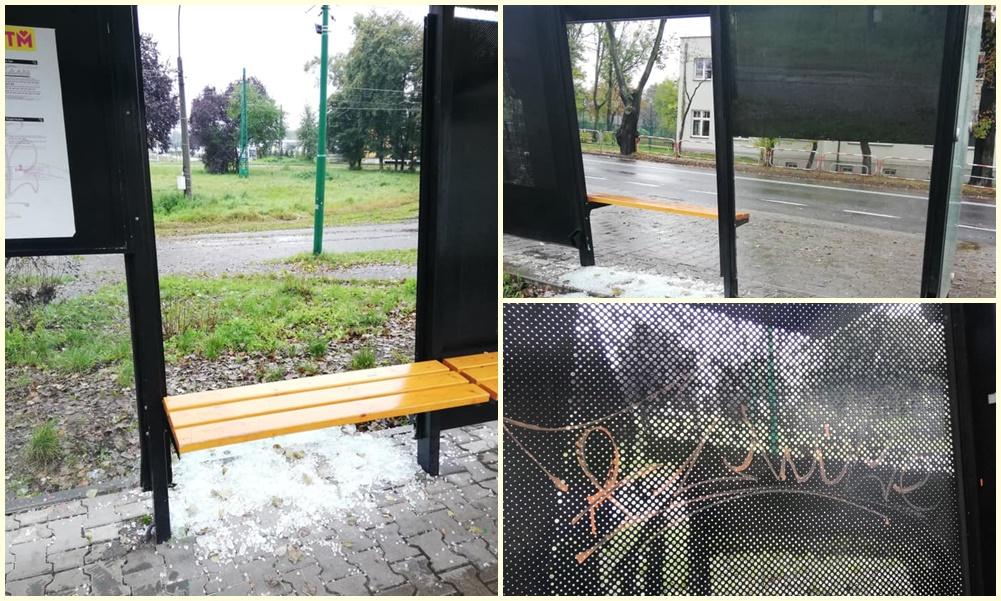 Na rondzie w Chebziu została zniszczona nowa wiata przystankowa