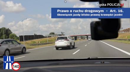 """""""Kierowca ekstraklasa trzyma się prawego pasa"""". Zobacz WIDEO Śląskiej Policji"""