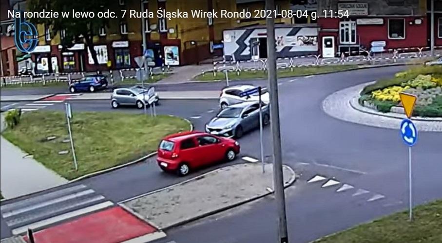 Wirek: Kierowca osobówki dojechał pod prąd do ronda [WIDEO]